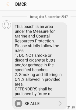 SMS about smoking ban